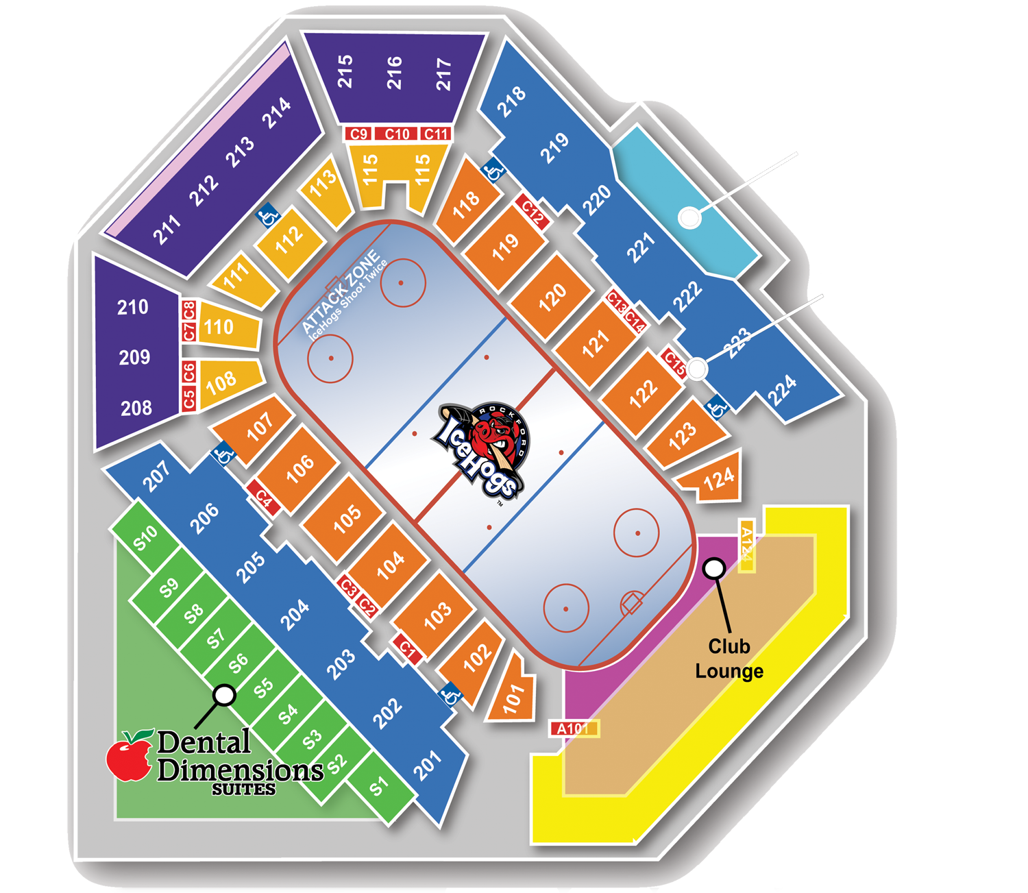 Seating Map For Rockford Icehogs At The Bmo Harris Bank Center